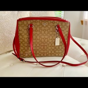 NEW Coach red brown leather satchel retail 398.00